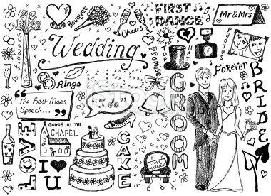 Wedding doodles Royalty Free Stock Vector Art Illustration