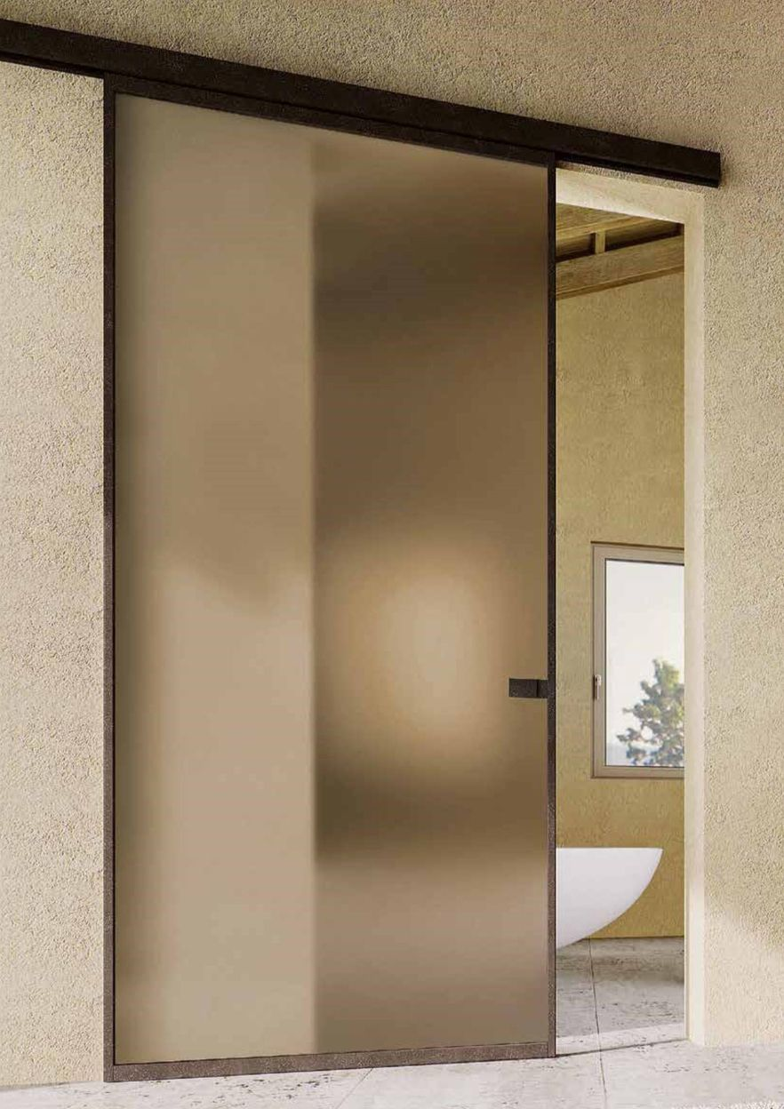 Wall Mounted Track Beam In Deep Brown Aluminum Sliding Glass Door Glass Doors Interior Glass Door