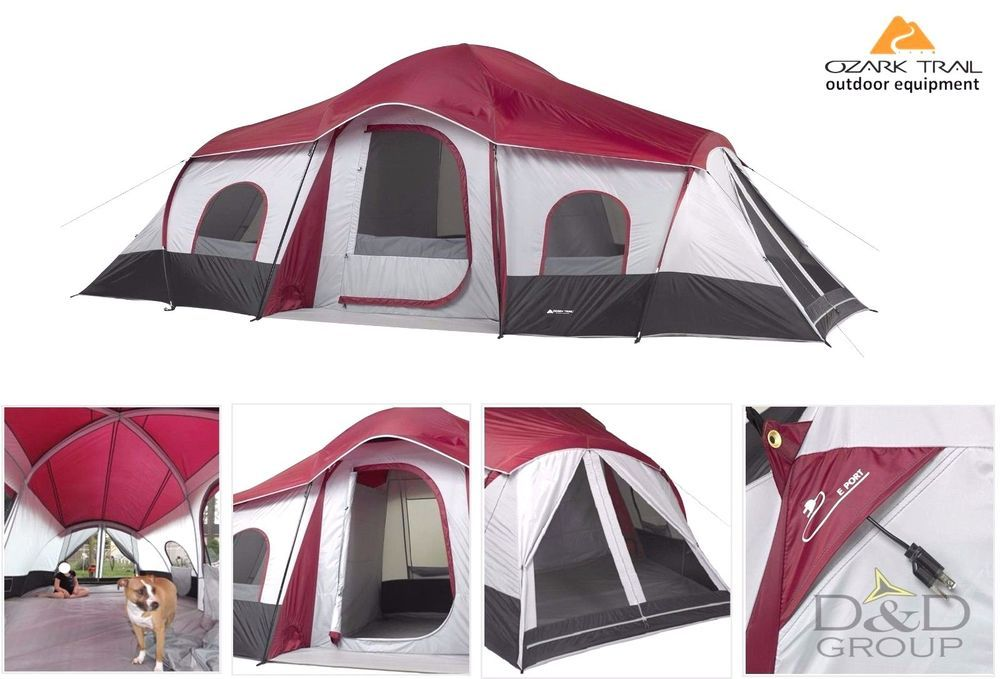Ozark Trail 10 Person 3 Room Instant Cabin C&ing Tent Large Outdoor Hiking NEW  sc 1 st  Pinterest & Ozark Trail 10 Person 3 Room Instant Cabin Camping Tent Large ...