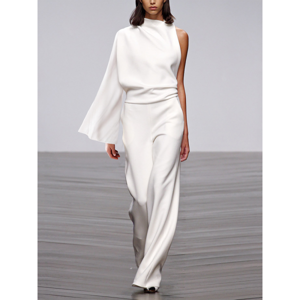 Women's Modern Pure Color Single Off-Shoulder Loos