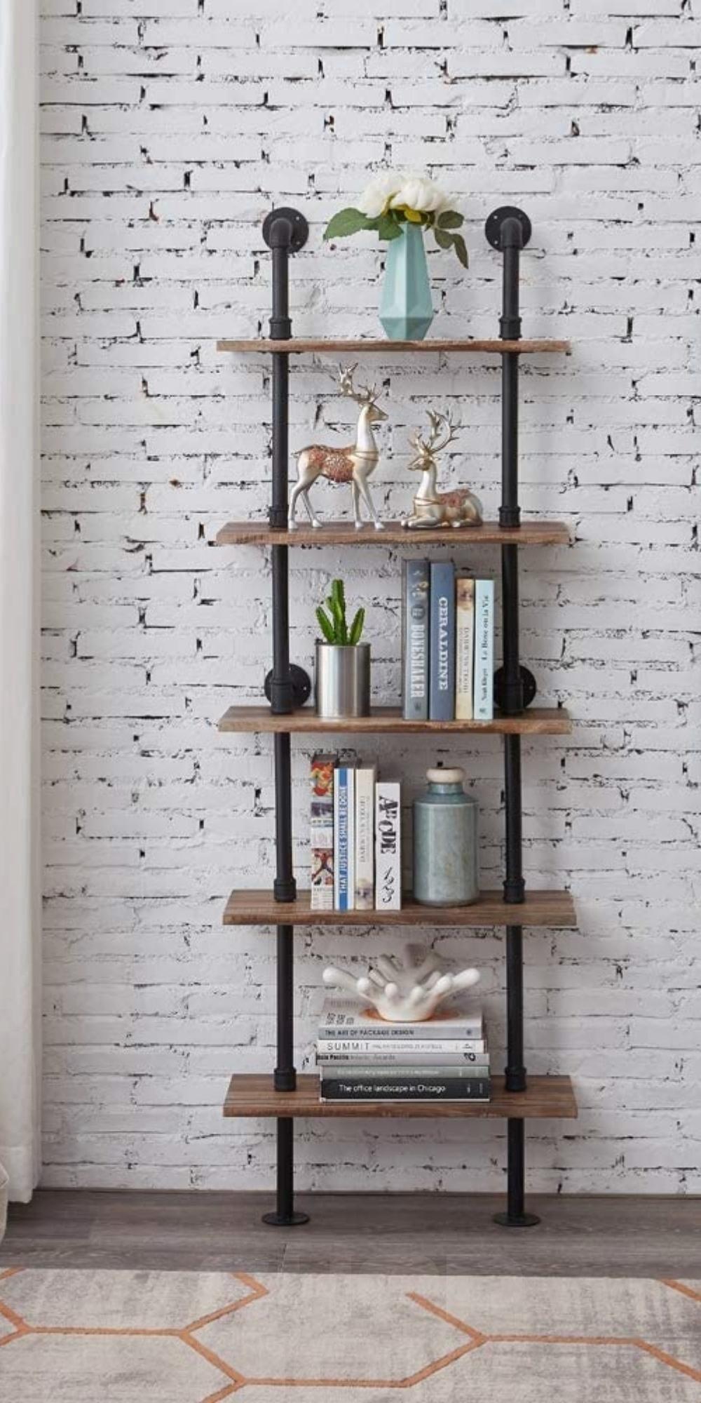 Shelves 5-Shelf Rustic Industrial Bookshelf Ladder
