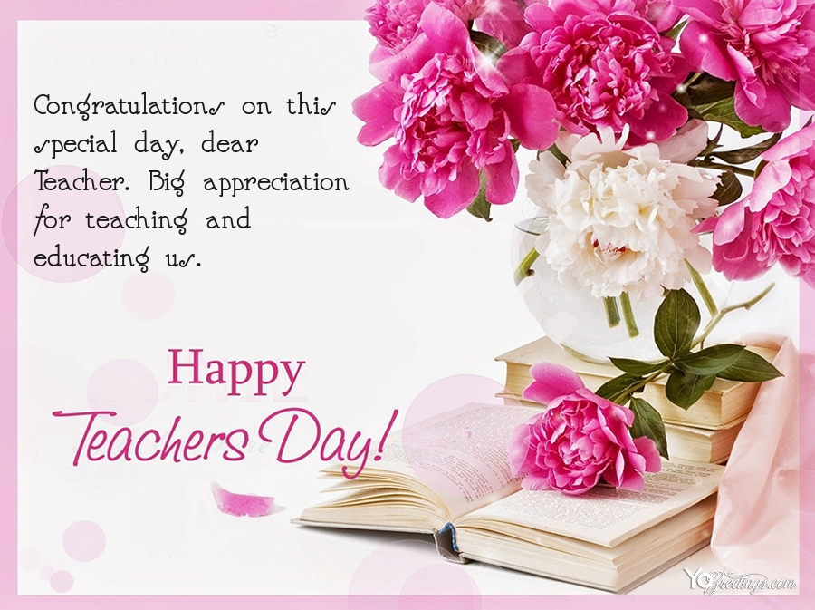 write wishes on beautiful flower cards for teacher's day