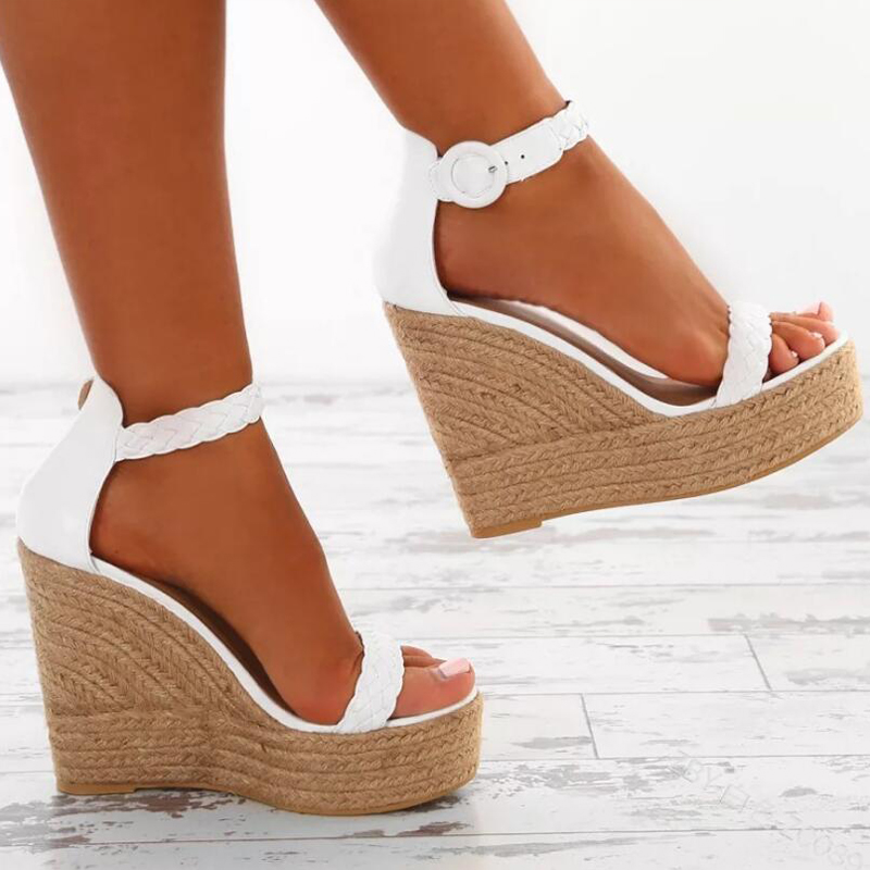 Ankle Strap Summer Women Wedge Sandals In White And Gold With Images Sandals Heels High Heel Wedges Womens Sandals Wedges