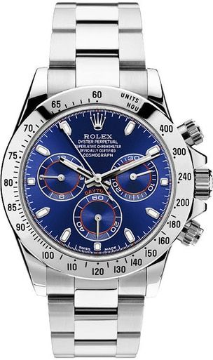 Rolex Daytona 116520 Stainless Steel Custom Blue Dial Chronograph Watch #stainlesssteelrolex