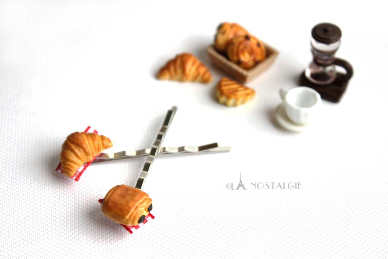Pinces à cheveux Croissants Pain au Chocolat par LaNostalgieJewelry