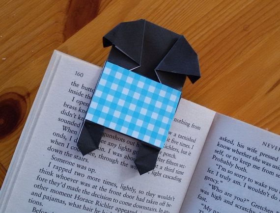paper dog bookmark unique origami pug bookmark by jollycards