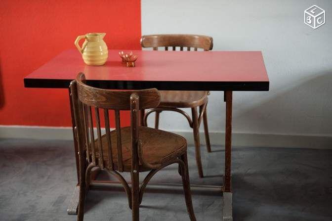 Table de bistrot vintage bois métal formica Décoration Meuse