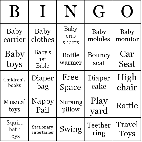 Baby Shower Gifts Bingo Card Sample  Party Ideas