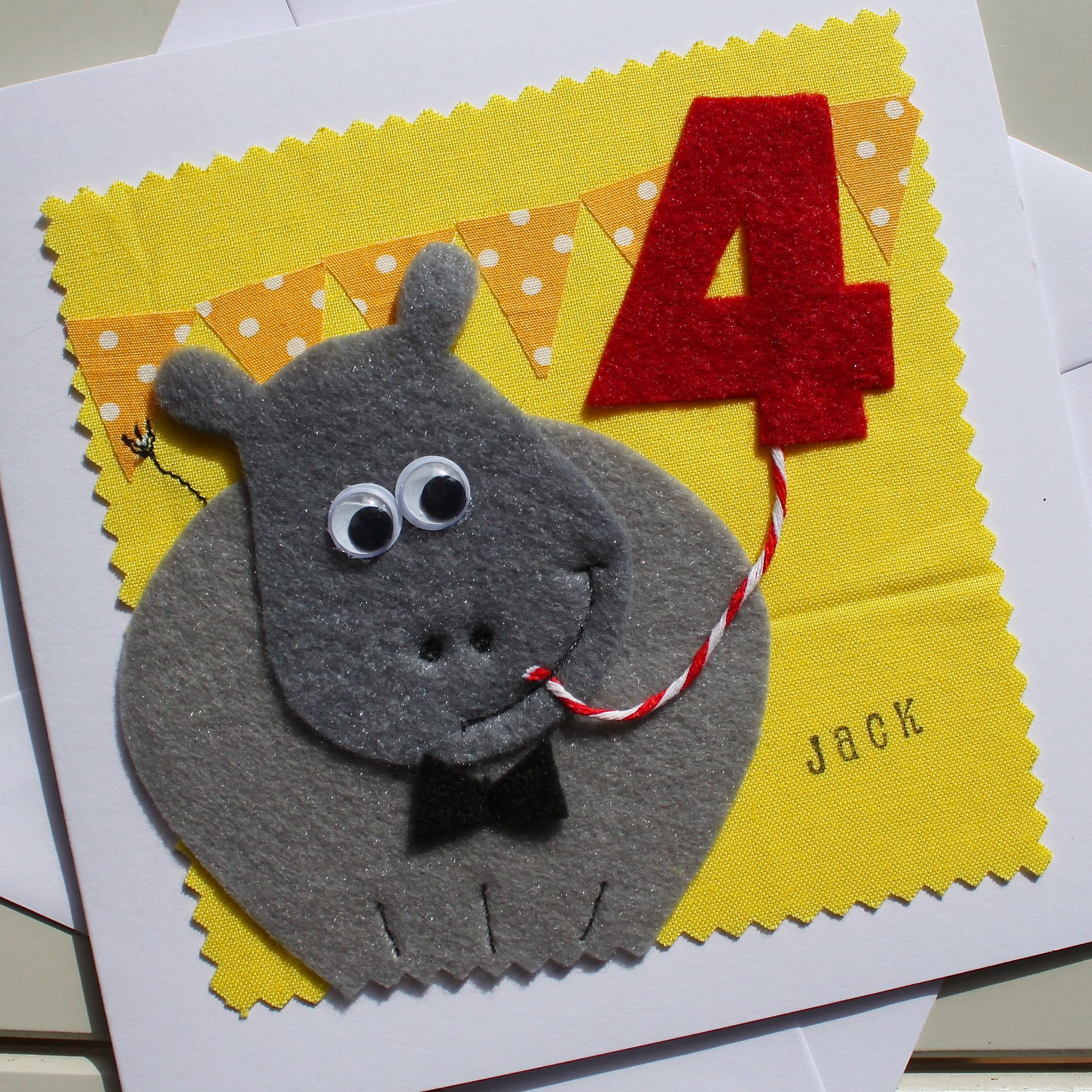 Hippo Personalised Childrens Birthday Card Handmade Felt Etsy Handmade Birthday Cards Birthday Cards For Son Birthday Cards