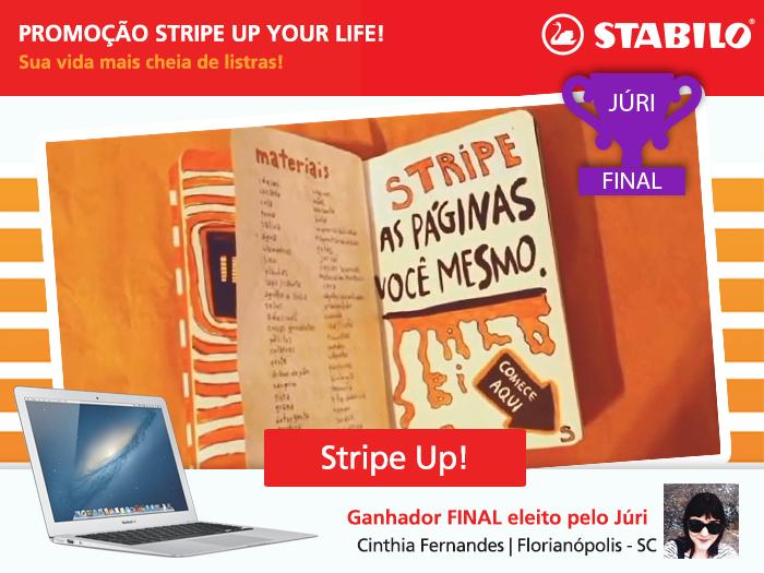 """Tcharararannnnn... A grande vencedora da Promoção Stripe Up Your Life foi a Cinthia Fernandes, de Floripa.  Ela mostrou que um diário todiiiiiiiiinho com STABILO faz sua vida ser muito mais cheia de listras e divertida. Reveja o vídeo """"Stripe Up!"""": https://www.youtube.com/watch?v=FVJj1PGdf98&feature=youtu.be&list=UUctpdOiydWK2w-Q4rYcA8xw. Ci, agora você terá um MacBook Air pra chamar de seu. Parabéns!"""