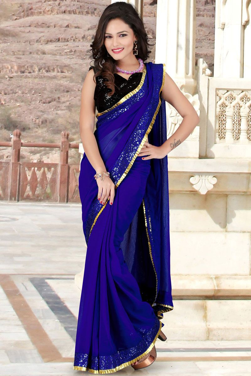 270f213248 Designer Royal Blue and Black Chiffon and Georgette Resham Embroidered  Border Saree with Sequin Work