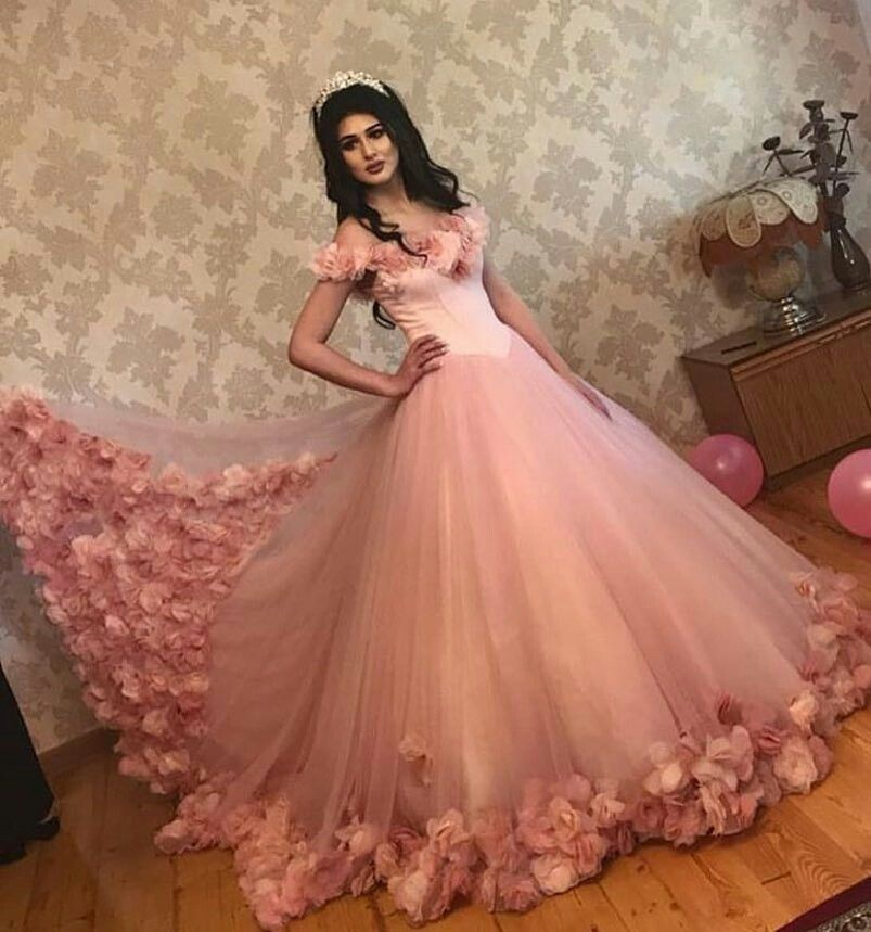 ea902d39338 Baby Pink Tulle Flowers Quinceanera Dresses Ball Gowns 2018 ...