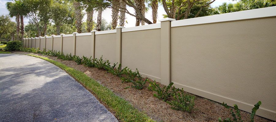 The house landscaping back yard - Permacast Concrete Fence Walls In Sarasota Florida