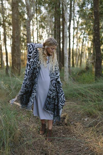 Boiled Wool Kimono in Grey