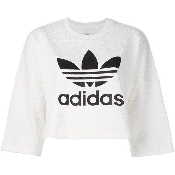 Adidas Originals Bonded Lace Crop Sweatshirt 5 240 Mkd Liked On Polyvore Featuring Tops Hoodies Sw Adidas Shirt White Cotton T Shirts Printed Sweatshirts