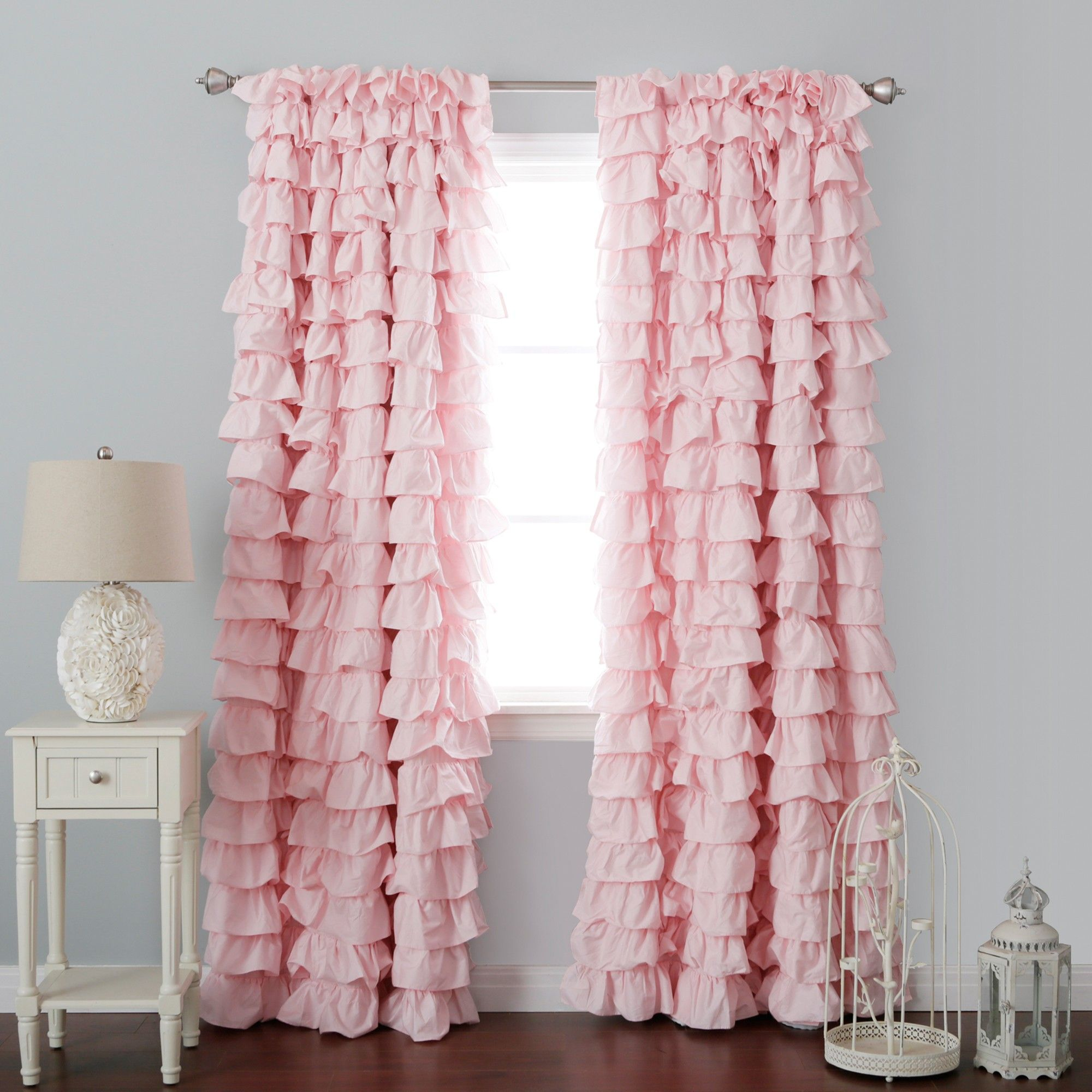 Girls Curtains Pink Blackout Small Waterfall Ruffle Curtain All Things