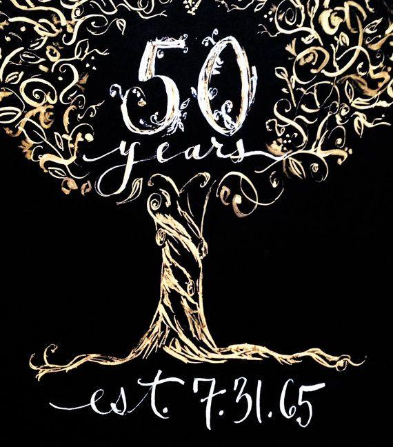 50th Anniversary Hand Painted Gift Print Custom Calligraphy Wedding Golden Famil 50th Anniversary Gifts Wedding Tree Decorations 50th Year Wedding Anniversary