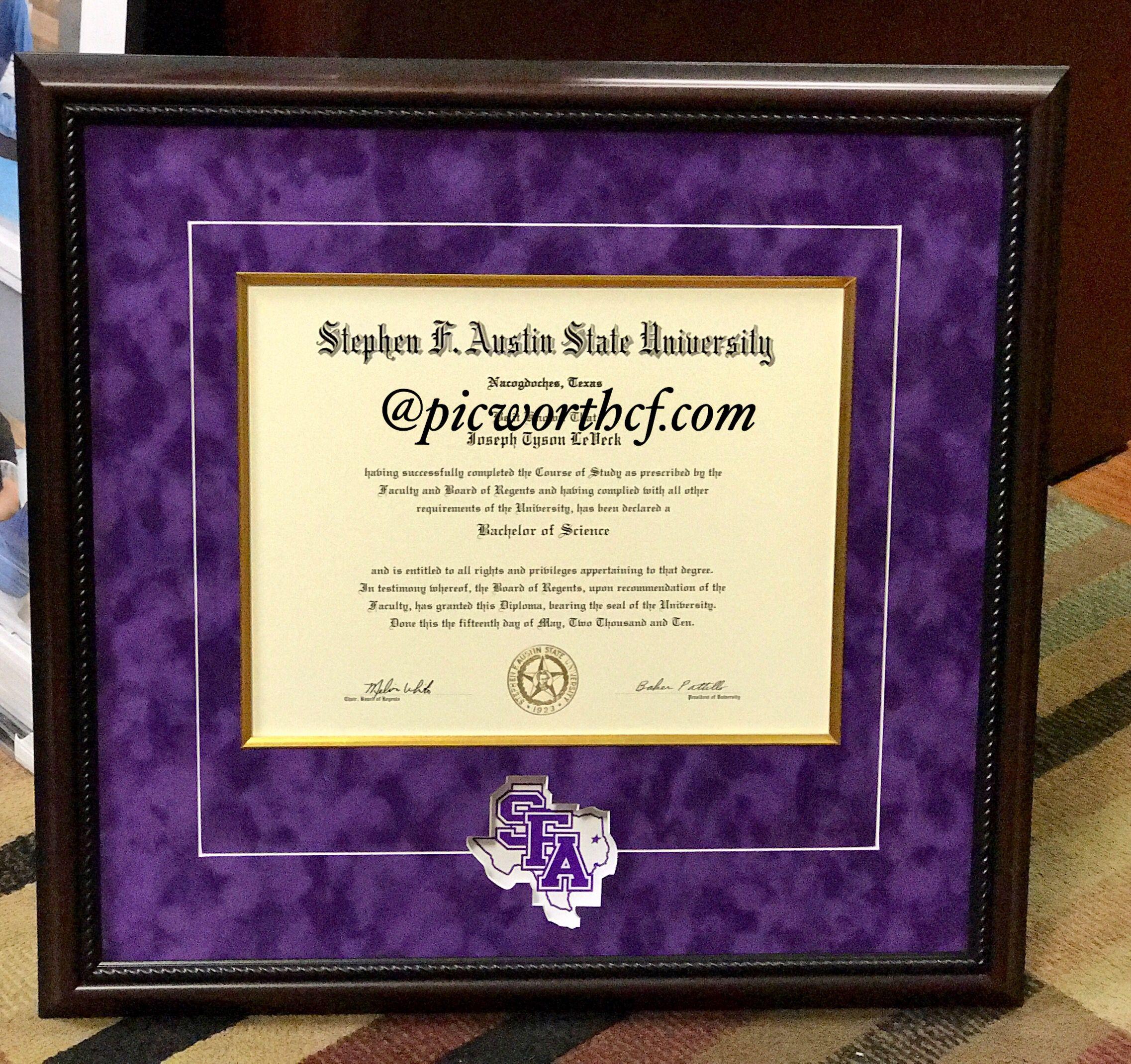Stephen F. Austin State University Degree custom Framed by ...