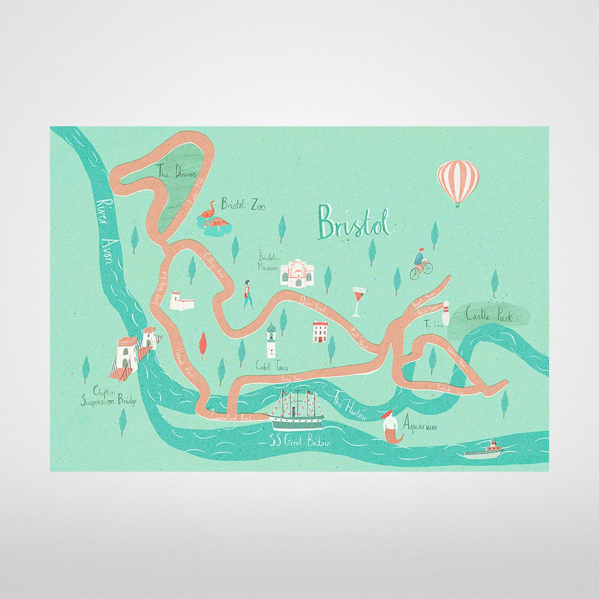 Illustrated Bristol Map Giclée Print by Naomi Wilkinson at The Bristol Shop