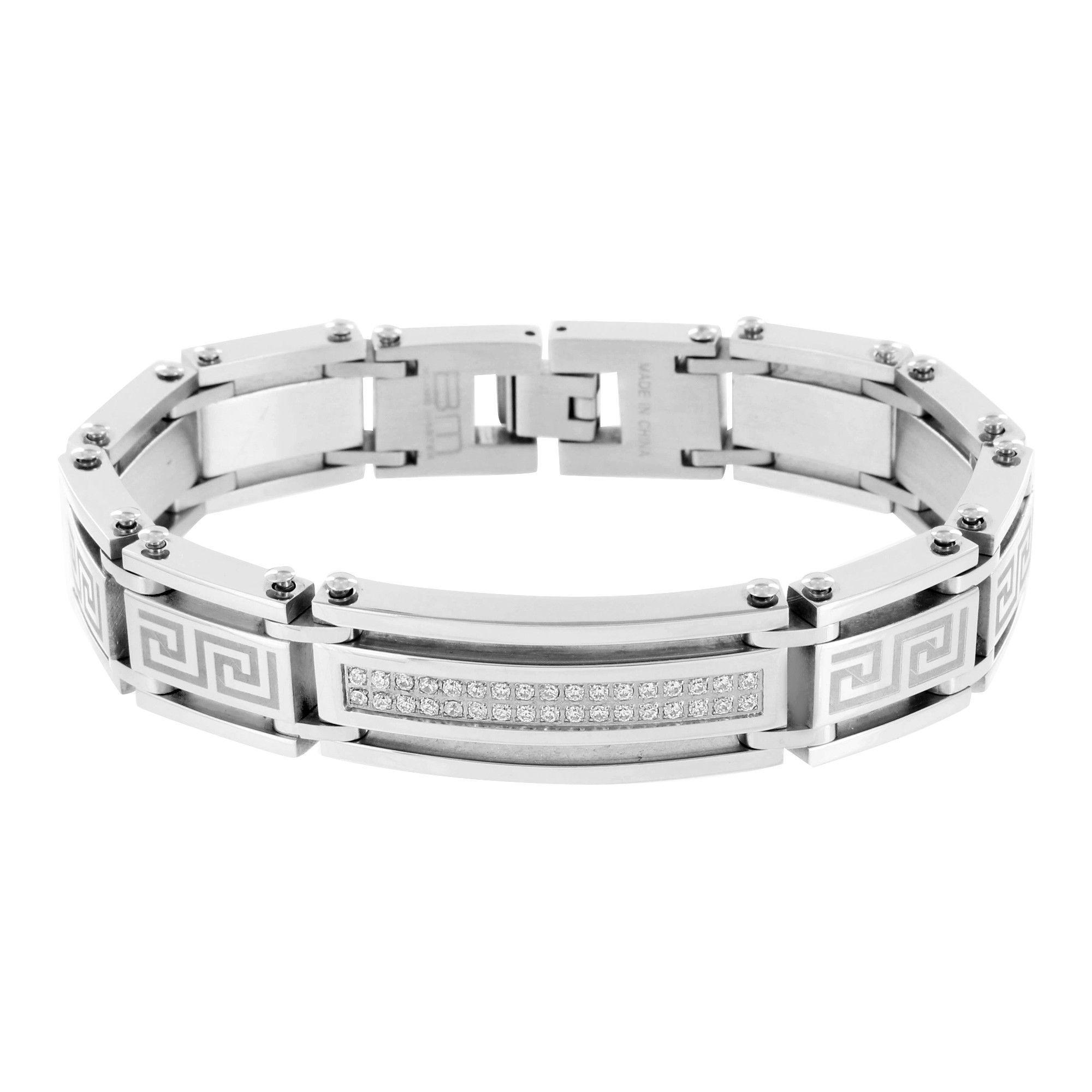 Greek medusa bracelet white gold over stainless steel men bracelet