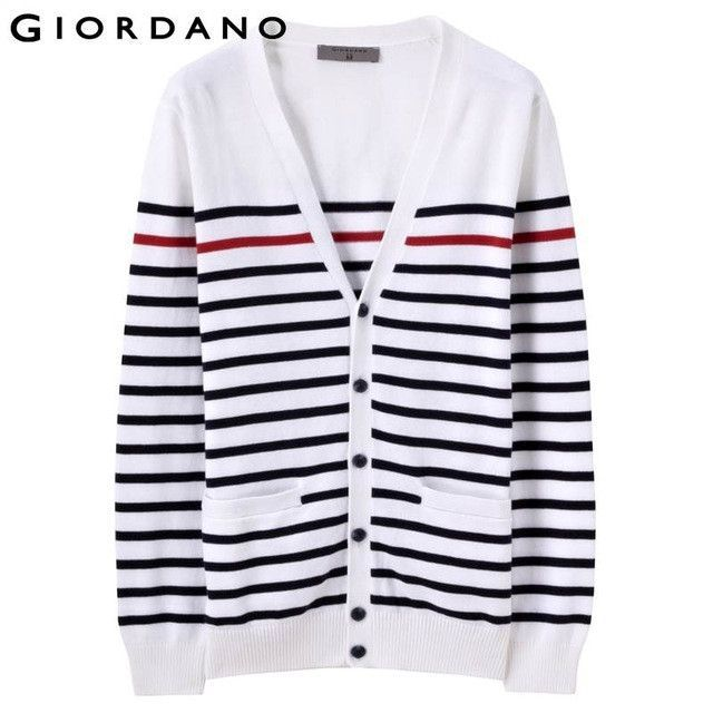 Men Sweaters Striped Long Sleeves V-neck Cardigan Button Pure ...