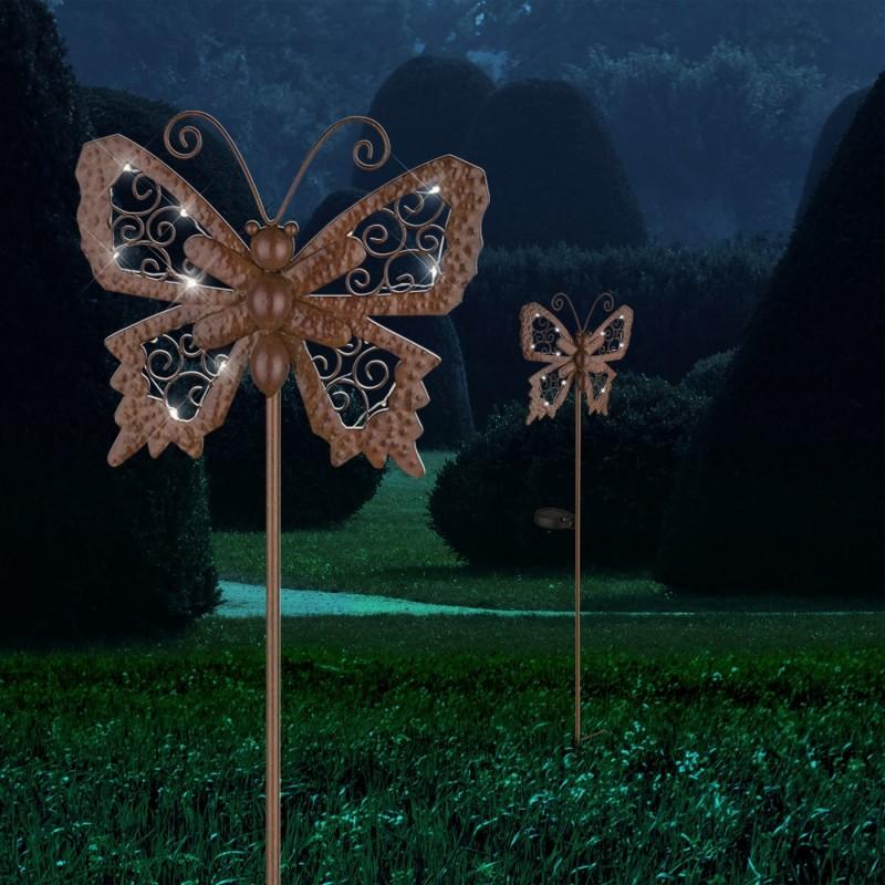Led Solarlampe Erdspiess Mit Schmetterling Von Globo Gartendeko Living Haus Garten Solarlampe Solarleuchten Solar