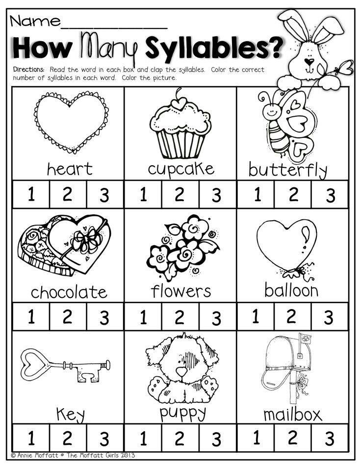 Counting Syllables Syllable Worksheet Kindergarten Valentines Kindergarten Worksheets Kindergarten worksheets about syllables