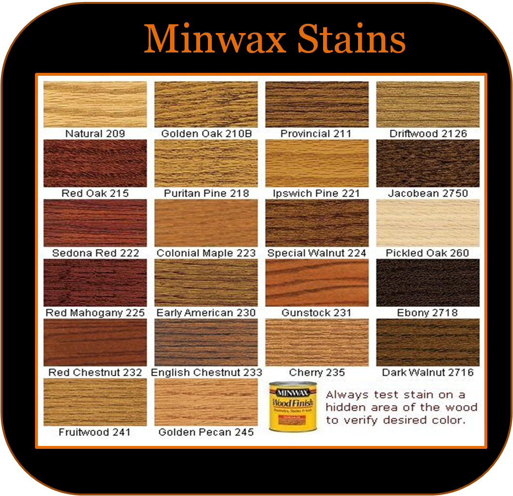 Need to refinish the hardwood floors. Wood Stain chart - Liking the ...