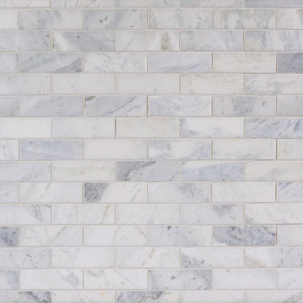 Sahara Carrara Brick Marble Mosaic Floor Decor Marble Backsplash Kitchen Marble Mosaic Kitchen Backsplash Designs