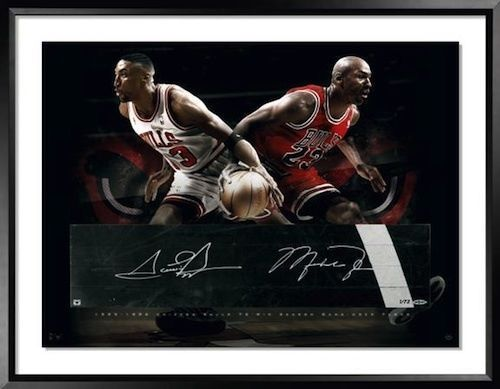 04439592a6c MICHAEL JORDAN & SCOTTIE PIPPEN Signed Game-Used Floor LE 72 UDA ...