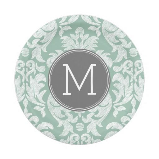Mint and Gray Damask Pattern Custom Monogram