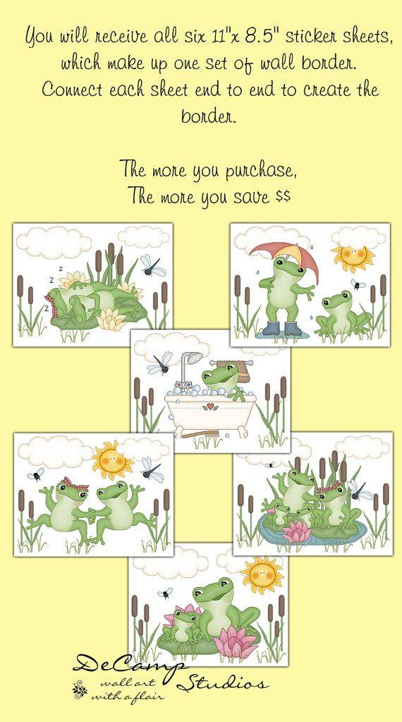 FROG WALLPAPER BORDER Decal Woodland Pond Nursery Wall Art Stickers ...