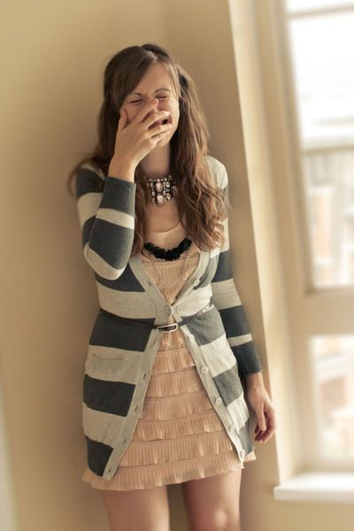 "Pink H&M Dresses, Silver Kirsh Cardigans, Black OLIVE ME Necklaces | ""stripes, ruffles, giggles"" by veronikan"