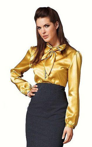 2d27b6d270af86 gold tie neck satin blouse | Satin Blouse Collection | Satin blouses ...