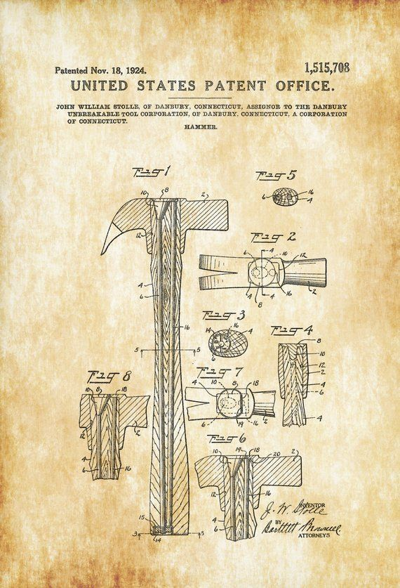 Hammer Patent 1924 Patent Print Vintage Tools Garage Decor Workshop Decor Claw Hammer Tool Poster Tool Art Hammer Blueprint Patent Prints Patent Art Prints Patent Art