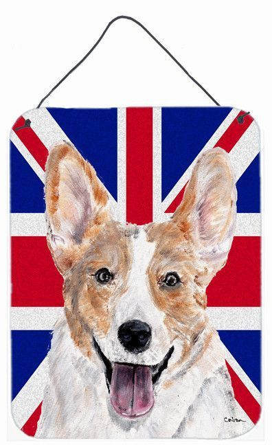 Cardigan Corgi with English Union Jack British Flag Wall or Door Hanging Prints SC9891DS1216