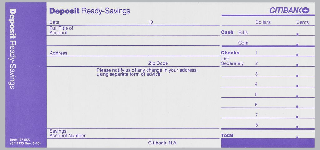 Citibank Deposit Form In Three Vertical Registers With Purple Ink