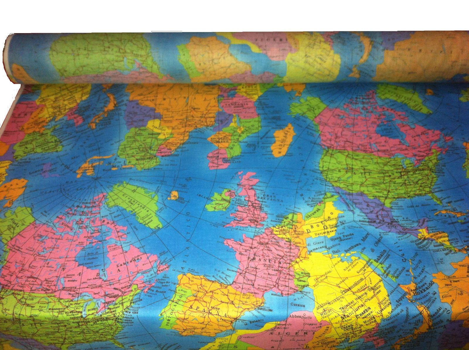 Globe world map cotton poplin fabric atlas material 53 wide globe world map cotton poplin fabric atlas material 53 wide turquoise blue gumiabroncs Image collections