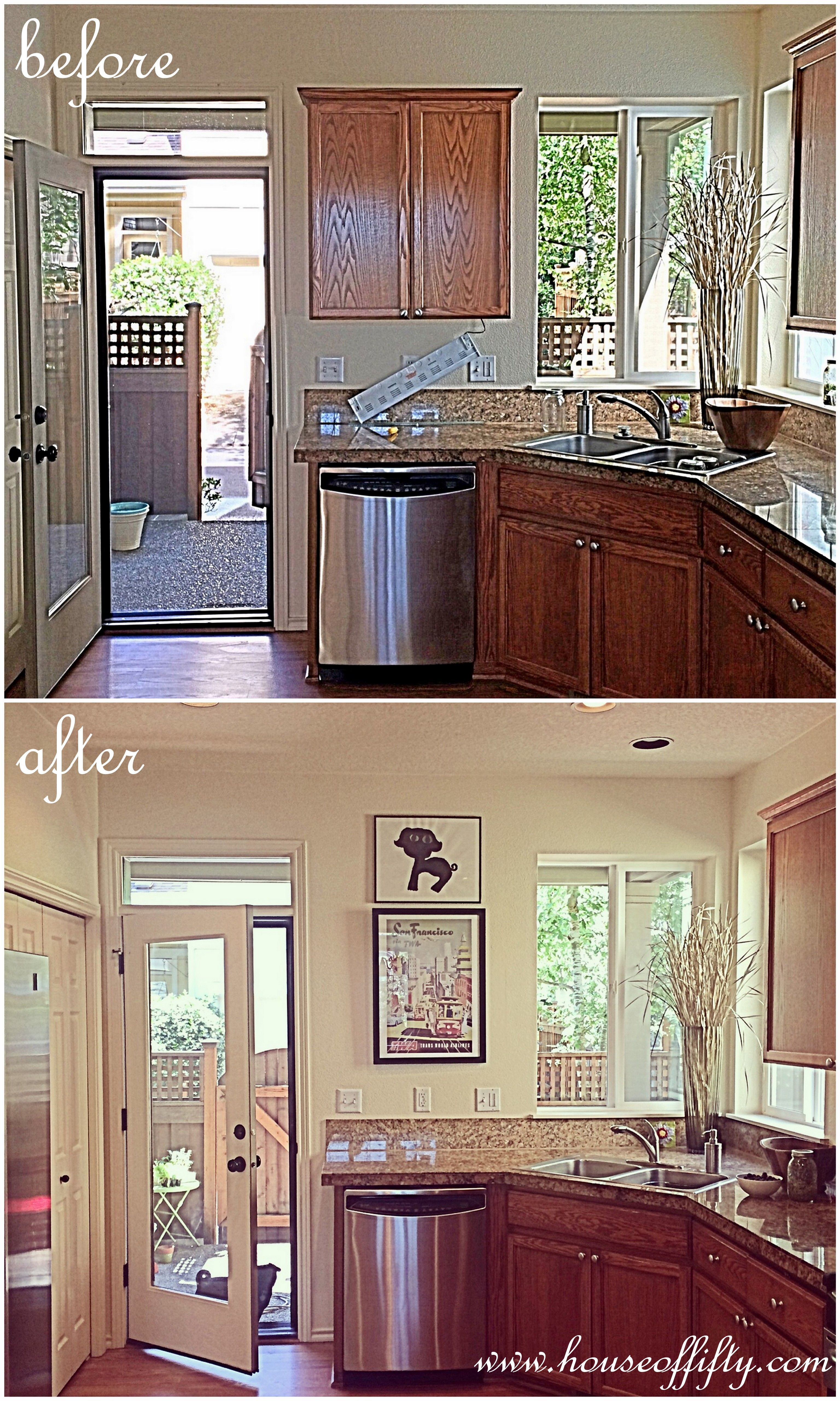 Taking Down A Random Wall Cabinet Creates A Sense Of More Space In A Small Kitchen