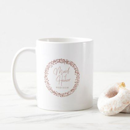 139894bbc Rose Gold Circle Frame Wedding Maid of Honor Coffee Mug - glam gifts unique  diy special glamour