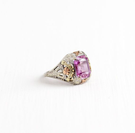 Antique 10k White Gold Art Deco Created Pink Sapphire Ring Vintage Filigree 1920s Emeral Vintage Sapphire Ring Gold Art Deco Antique Engagement Rings Vintage