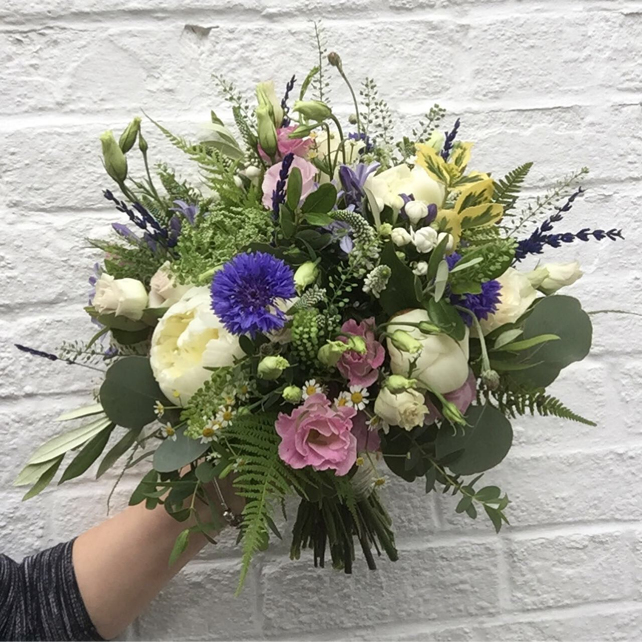 This Kent Country Garden Rustic Style Bridal Bouquet Is Filled With Peonies Cornflowers Veron Peony Bouquet Wedding Bridal Bouquet Wedding Flowers