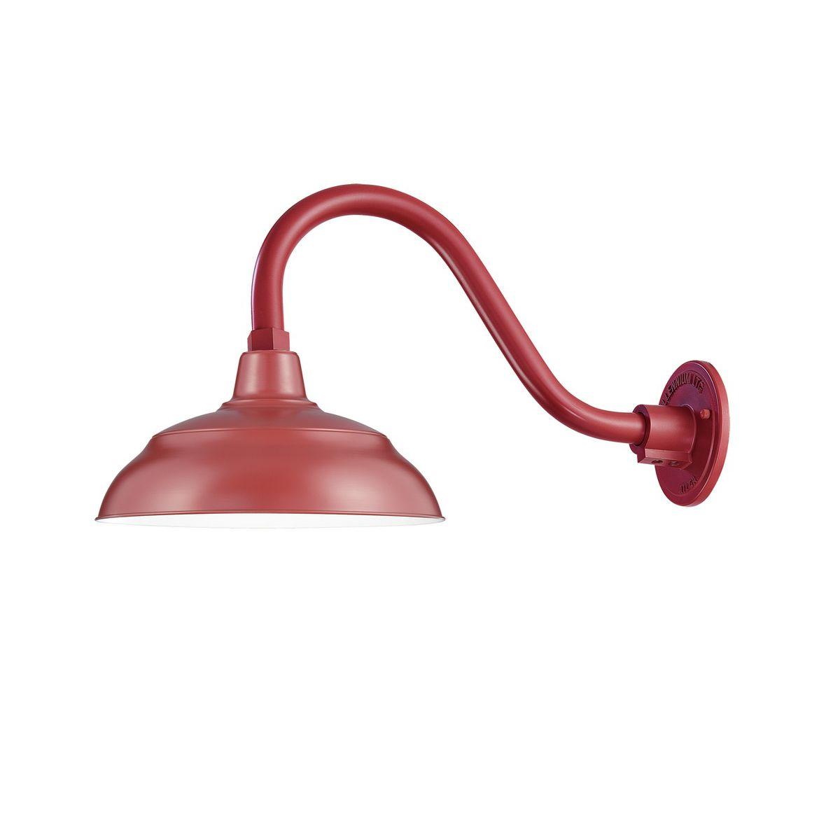 14 Satin Red Warehouse Shade With Gooseneck Barn Lighting Sign Lighting Shades