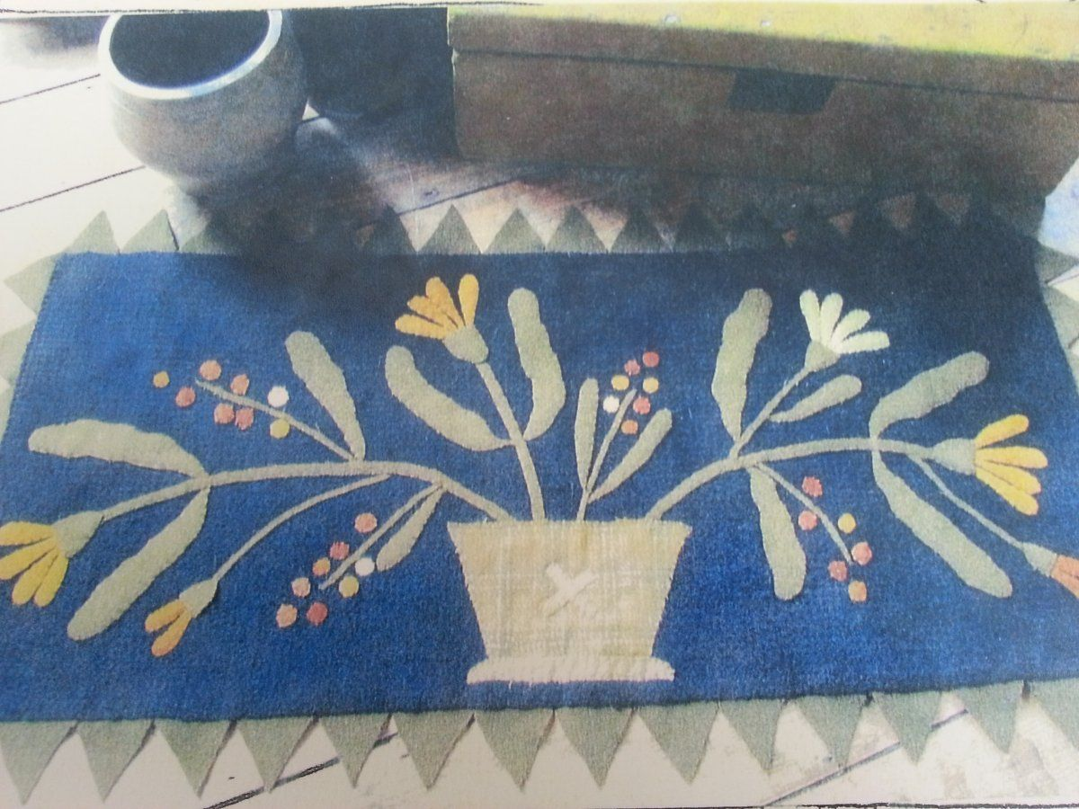 Primitive Rug Hooking Wool Lique Hand Dyed Punch Needle Cross Sch