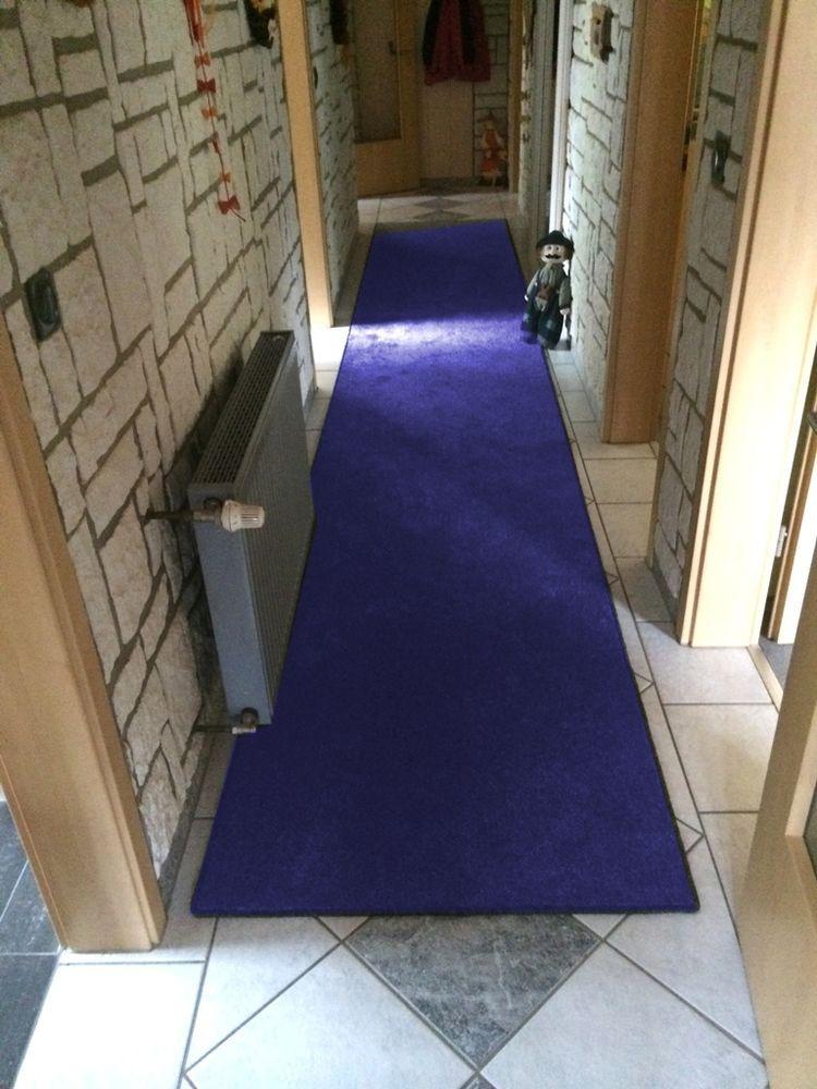 Details zu Teppichbrücke Läufer Velour 90 cm Breite in blau, braun - bad blau braun