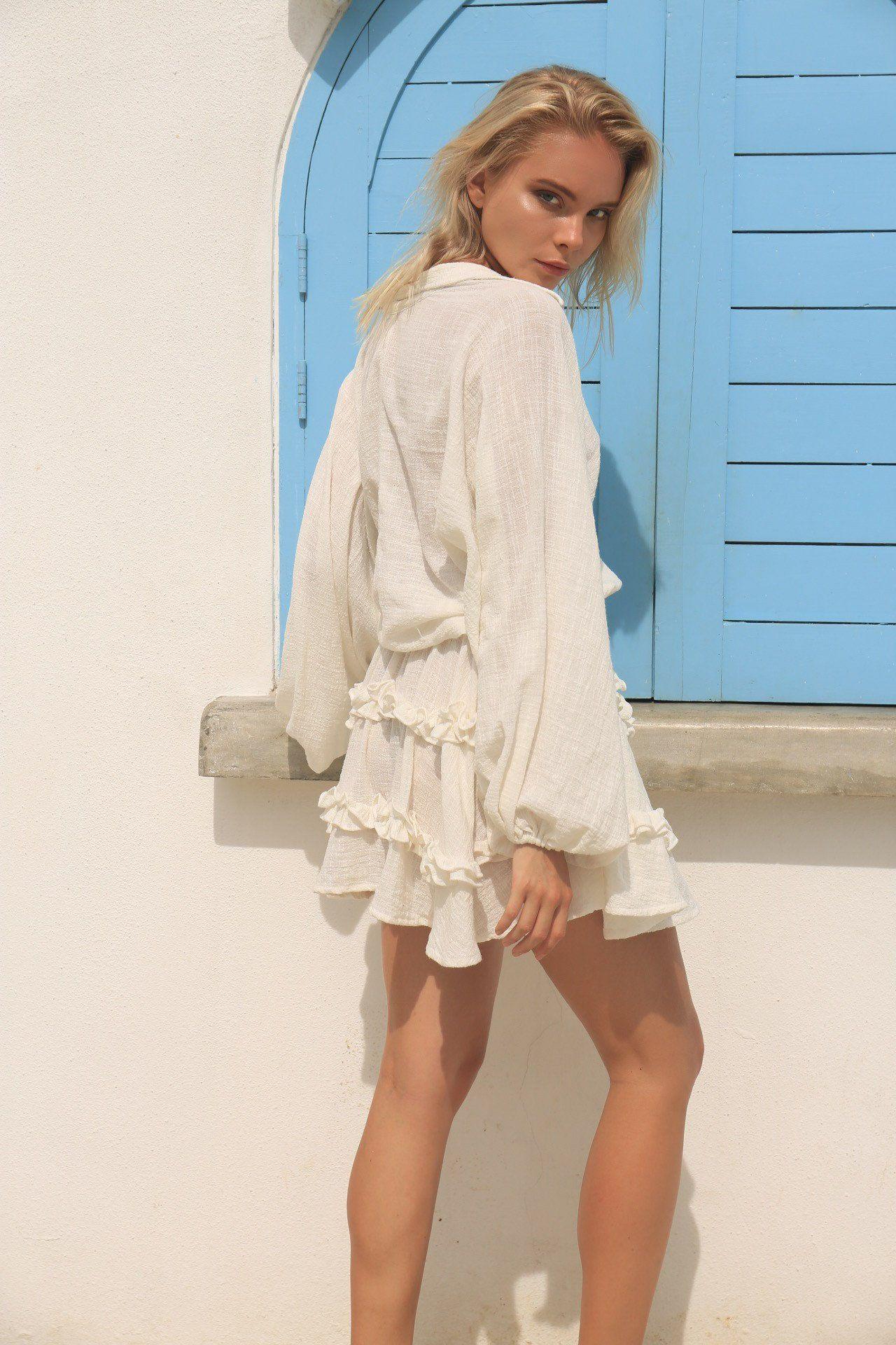 a166e58474a La Confection - Willow - Long Sleeve White Linen Dress