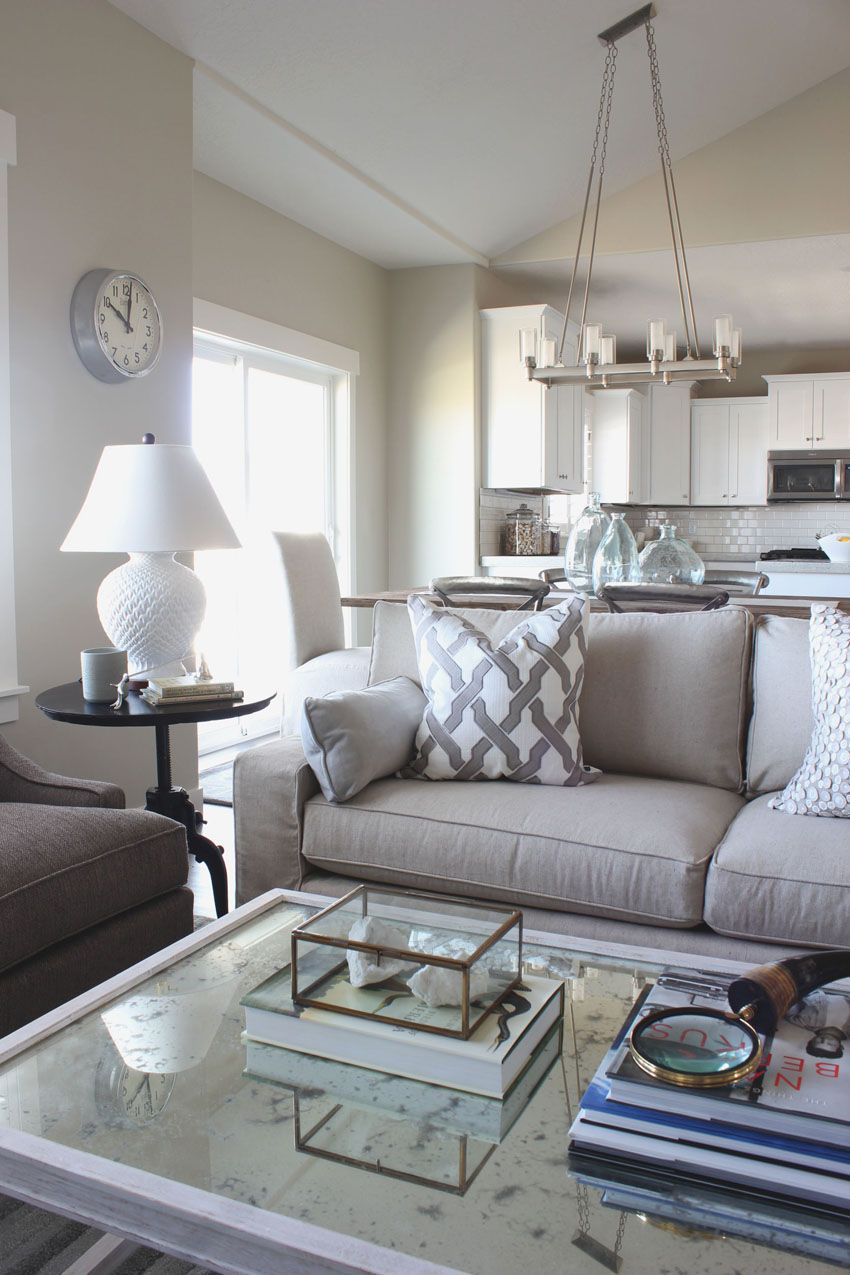 White Living Room Side Table Canvas Wall Decor Show N Tell Elkridge Model Home Family Pinterest Alice Lane Collection Neutral Lamp Silver Clock Black Antique Mirror Coffee