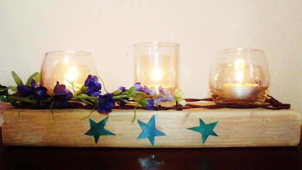 Barn Wood and Barb Wire Votive/Tea light 3 candle holder rustic table decor . Another master piece!LOL