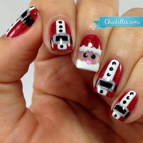 Santa Claus Nail Art Using Gel Polish Santa Nails Xmas Nails Christmas Nails