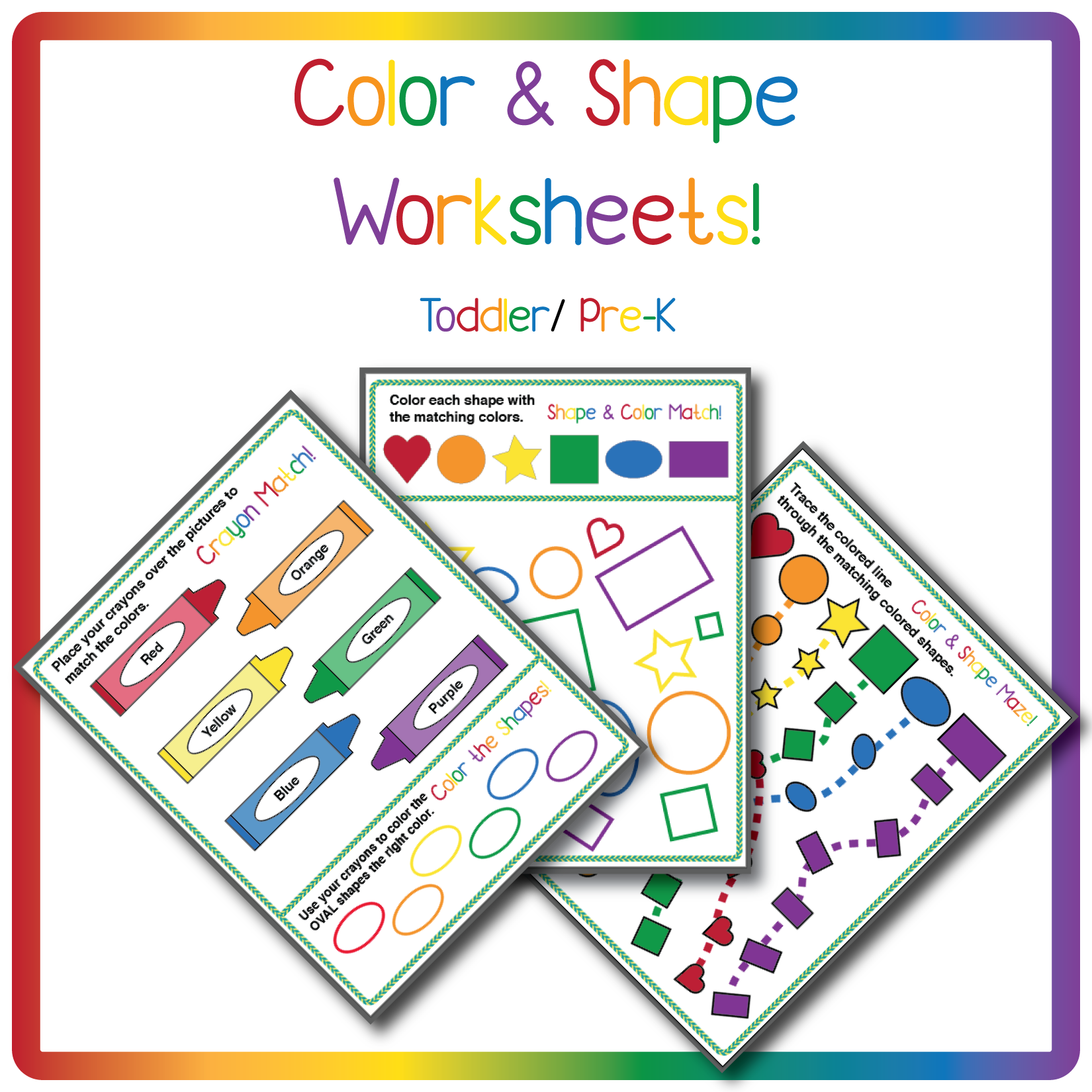 Color Amp Shape Worksheets For One 1 For Toddler And Pre K